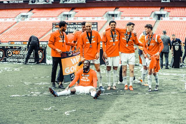 Salford City player celebrations including Gary Neville, David Beckham, Ryan Giggs & co.