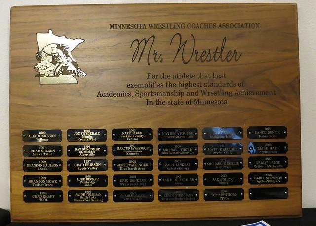 MWCA Mr. Minnesota Wrestler Traveling Plaque. 190504AJF0842