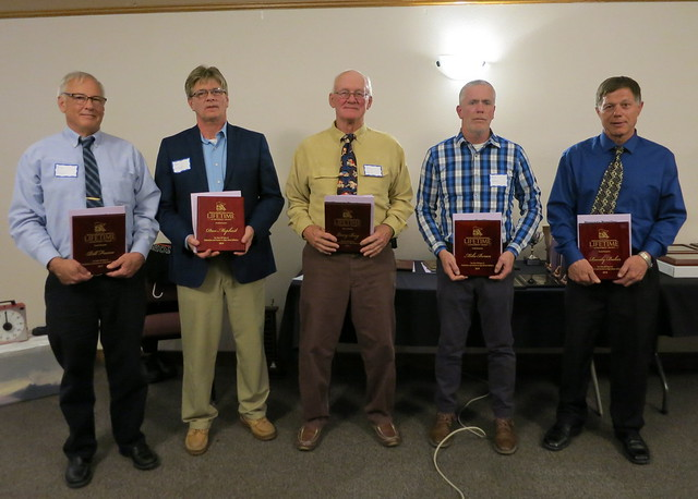 Lifetime Achievement Award recipients Bill Frame of Pine Island, Don Mcphail of Pine Island, Larry Berg of Pine Island, Mike Boran of Brainerd, and Randy Baker of Jackson County Central. 190504AJF0848