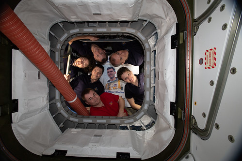 The Expedition 59 crew inside the Cygnus space freighter