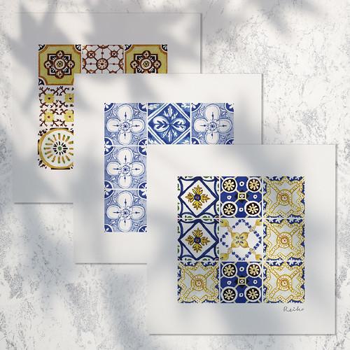 方形花磚set