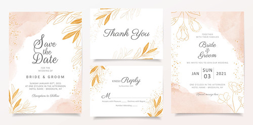Watercolor creamy wedding invitation card template set with golden floral decoration. Abstract background save the date, invitation, greeting card, multi-purpose vector