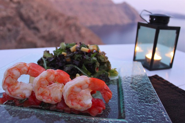 Salade de crevettes, Santorin, Grèce