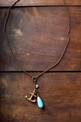 turquoise,baby pearl & a bronze anchor