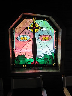 Judgment Day scales in stained glass