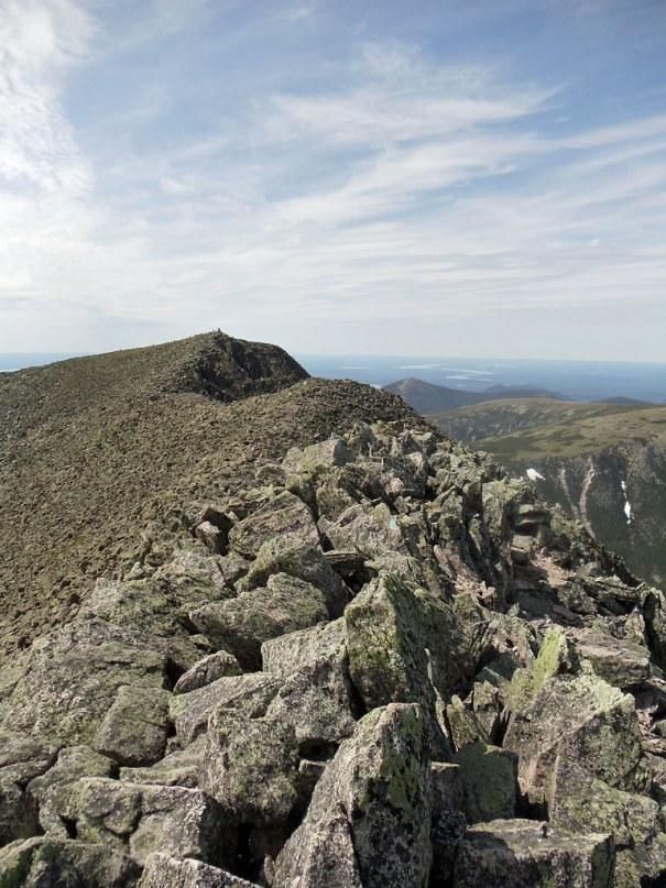 Final leg of the Katahdin Knife Edge trail from South Peak to Baxter Peak.