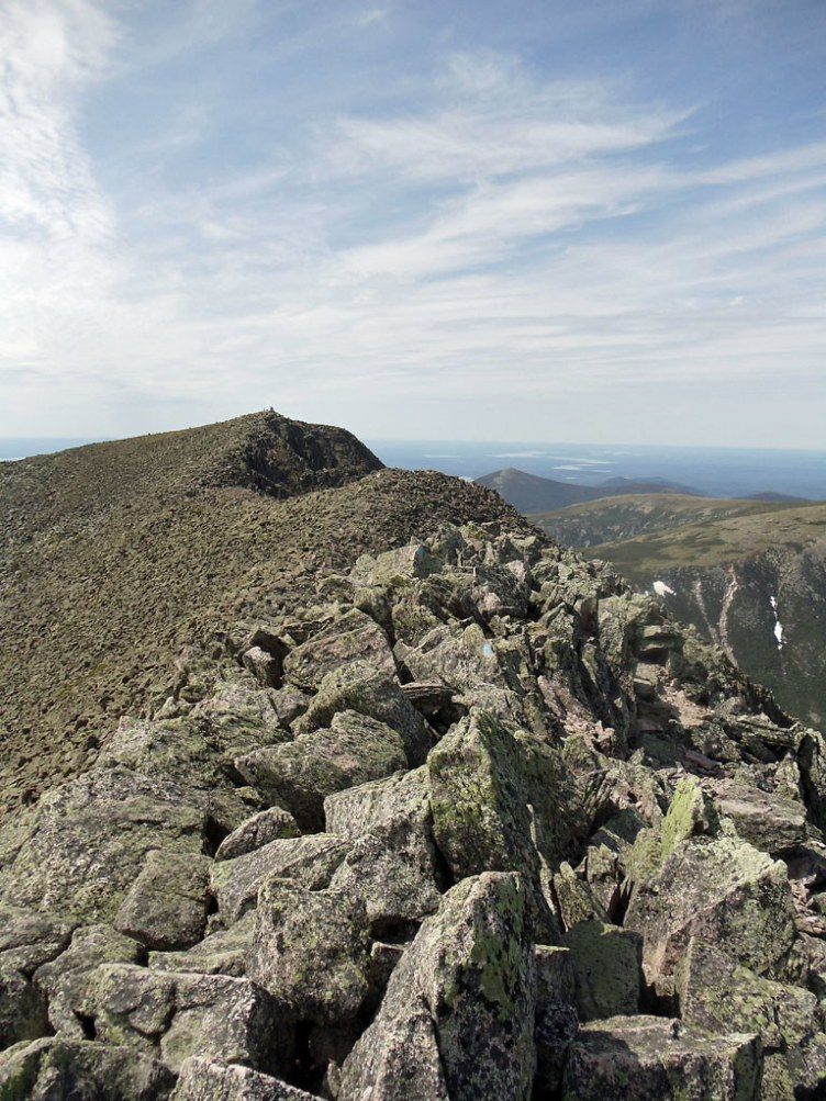 Final leg of the Katahdin Knife Edge trail from South Peak to Baxter Peak.
