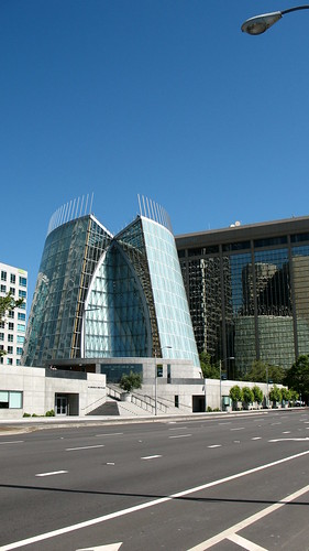 Glass and metal contemporary church building