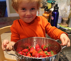 Showing off Washed Strawberries