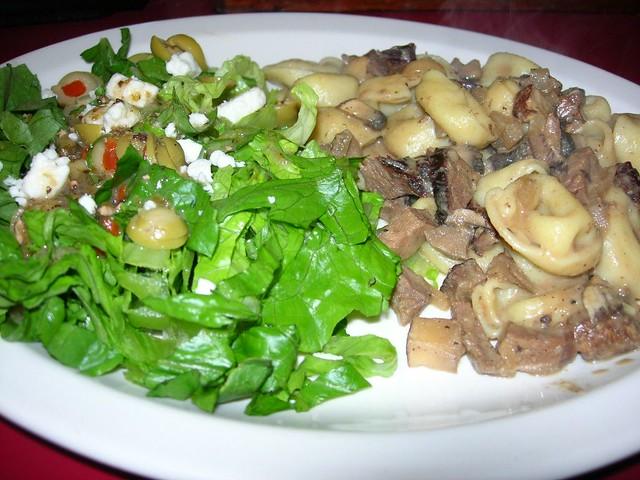 Beef Mushroom Tortellini and Salad