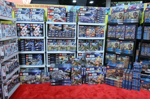 Half of the retail space at the LEGO booth - San Diego Comic Con
