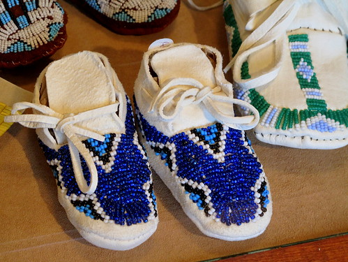blue beaded moccasins