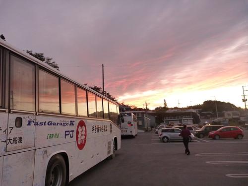気仙沼の夕焼け, 陸前高田市竹駒町でボランティア(レーベン隊) Volunteer at Rikuzentakata, Iwate pref. Deeply Affected Area by the Tsunami of Japan Earthquake