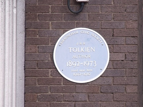 J.R.R. Tolkien - blue plaque - Hagley Road, Ed...