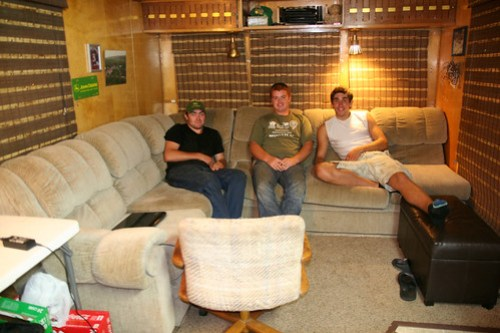 James, Callum and Oak hang out in the Spartan.