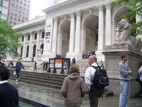 NYPL Library Lion Outside with Patrons Visiting