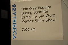 Six-Word Memoir at 92YTribeca, 7/25/11