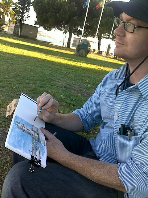 pete sketching belem