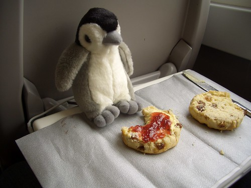 Pedro enjoying a scone