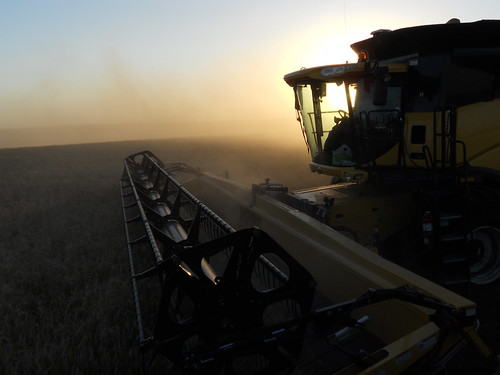 Combine at dusk