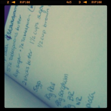 What a recipe looks like as I plan it...can you guess what this one is?