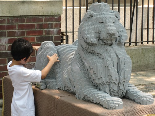 Lego NYPL Library Lion with Child Visitor