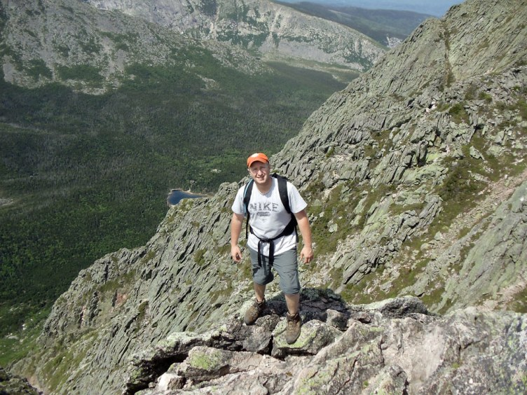 Hiker view of the Katahdin South Basin from the Knife Edge trail.