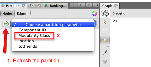 Gephi - select modularity partition