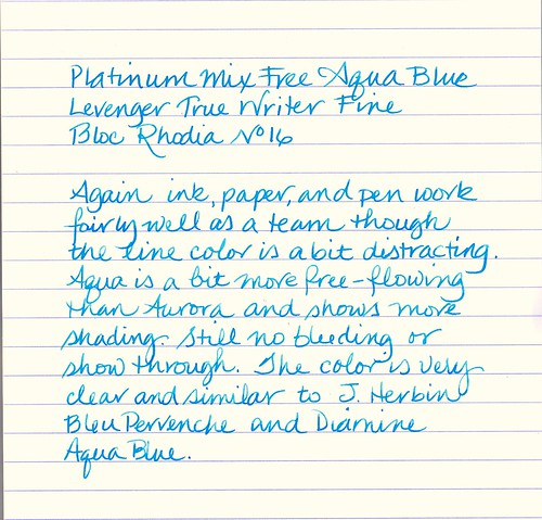 Platinum Mix Free Ink Aqua Blue Sample