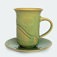 'JB'. Cup and saucer