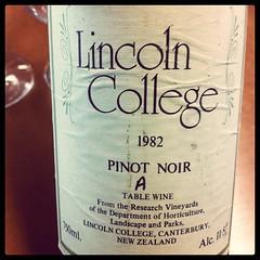 1982 Pinot Noir Lincoln College, NZ