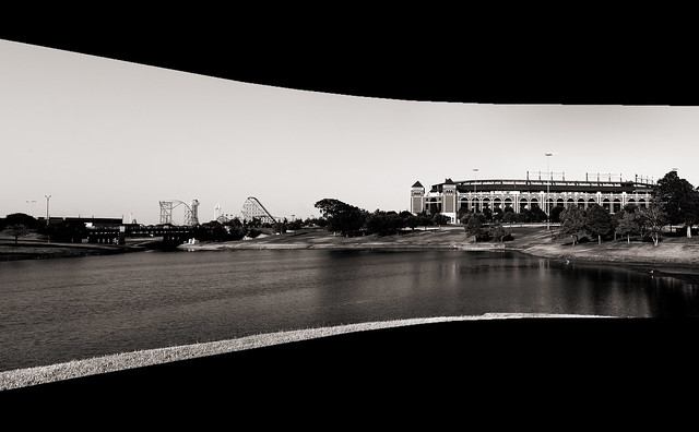 B&W Panoramic of the Rangers BallPark and Six Flags