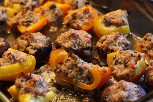 Thai Sausage-Stuffed Mushrooms & Peppers