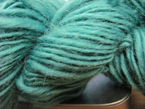 close up of teal spinning