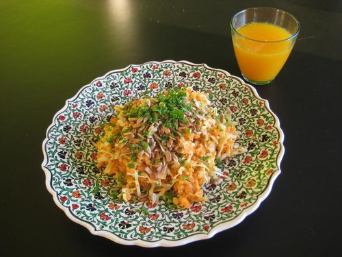 Cabbage-carrot salad & orange juice