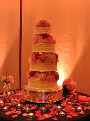4 tier wedding cake at night