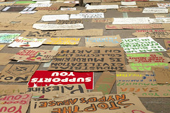 Protest signs at the Occupy Wall Street Protes...
