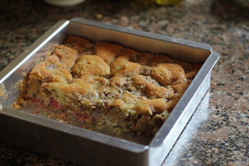 rhubarb crumb cake, getting enjoyed