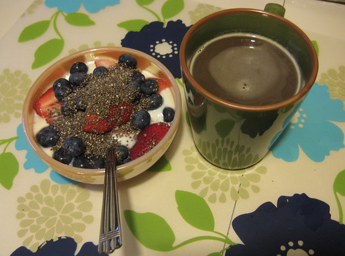 yogurt, berries, chia seeds, coffee