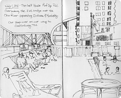 Louisville Travel Sketches - Galt House Roof Pool