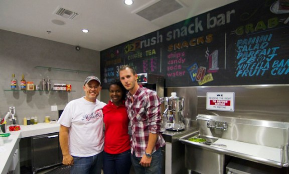 The Rush Snack Bar team poses behind the counter on opening day.