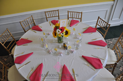 Table setting from above at Rose Hill Manor in Leesburg, Virginia
