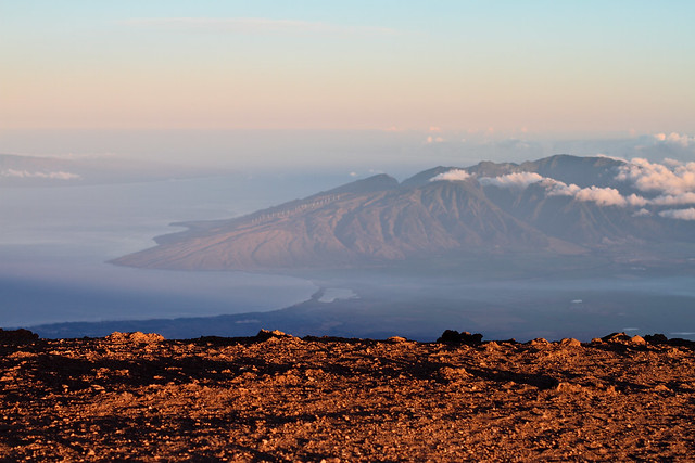 Early morning view of the South Maui Coast from the top of the Haleakala Volcano.