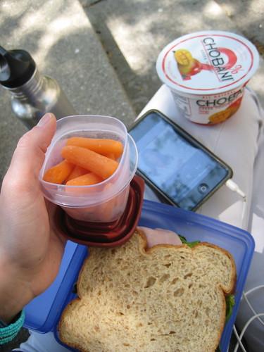 baby carrots, ham sandiwch, mango chobani