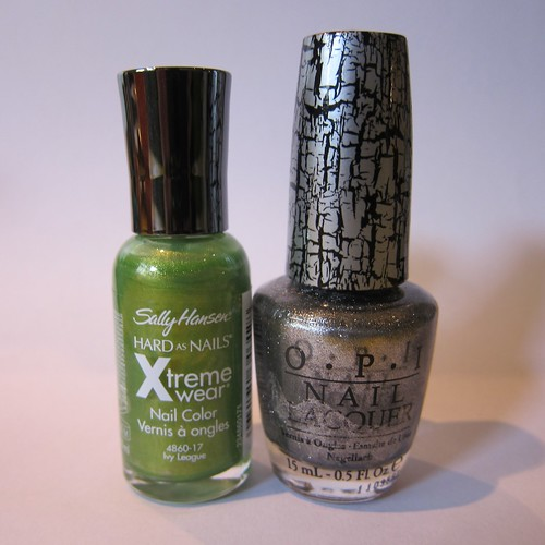 OPI in Silver Shatter & Sally Hansen Xtreme Wear in Ivy League
