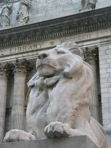 NYPL Library Lion Outside with Building Name