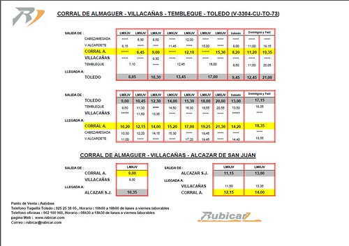 RUBICAR CORRAL DE ALMAGUER, ALZAZAR, VILLACAÑAS, TEMBLEQUE Y TOLEDO