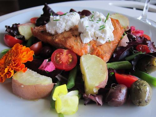 Salmon and chevre salad