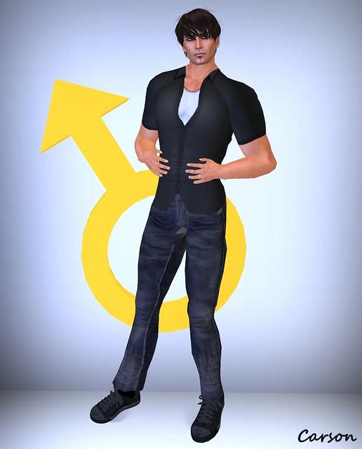 Biohazard - Black Button Down Shirt, White Tank, and Worn Black Jeans