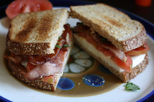 Bacon, Mozzarella, Tomato & Basil Sandwich